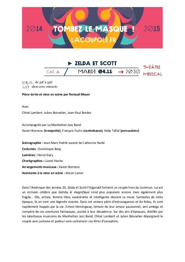 ►  de 31€ à 35€ 2h10 avec entracte  Pièce écrite et mise en scène par Renaud Meyer  Avec  Chloé Lambert, Julien Boisselie...