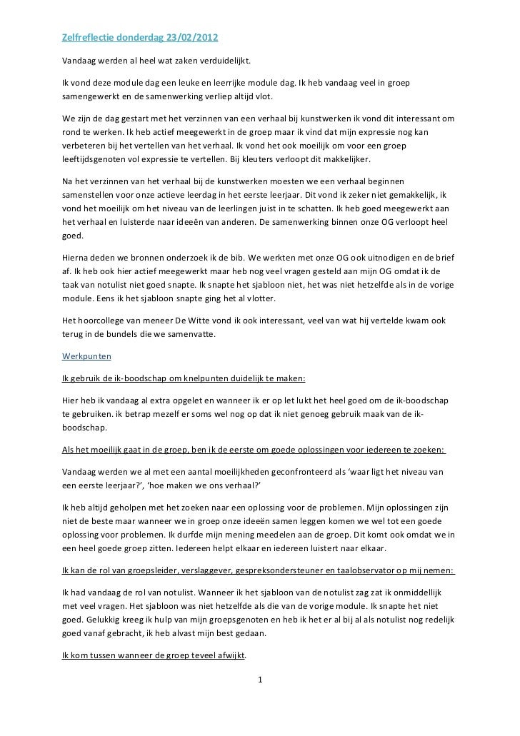 Zelfreflectie donderdag 23/02/2012
