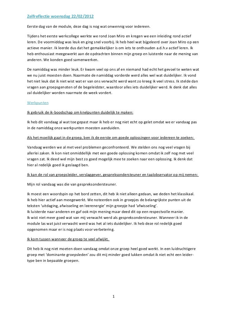 Zelfreflectie woensdag 22/02/2012
