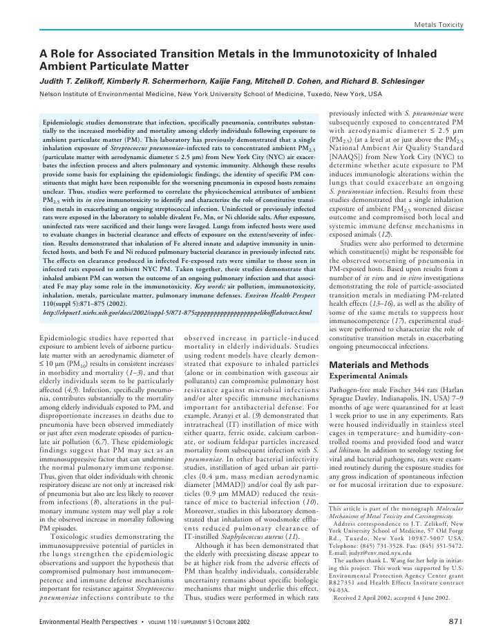 Metals Toxicity    A Role for Associated Transition Metals in the Immunotoxicity of Inhaled Ambient Particulate Matter Jud...