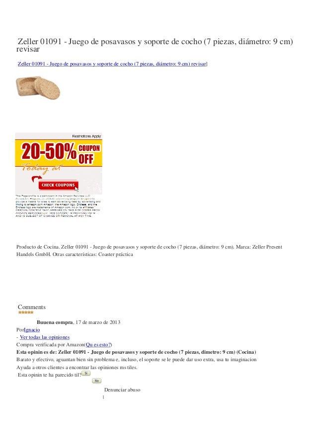 Zeller 01091-juego-de-posavasos-y-soporte-de-cocho-7-piezas-diametro-9-cm-revisar