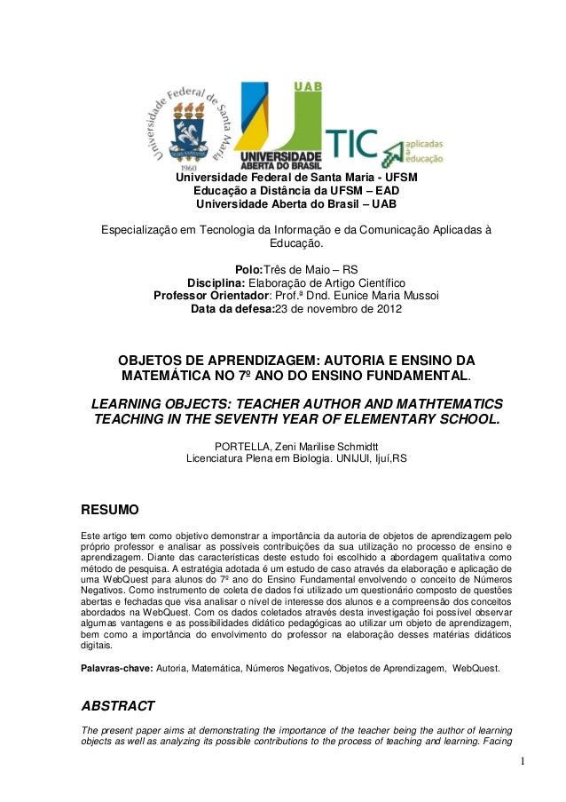 1Universidade Federal de Santa Maria - UFSMEducação a Distância da UFSM – EADUniversidade Aberta do Brasil – UABEspecializ...
