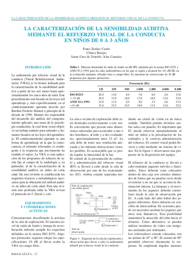 LA CARACTERIZACIÓN DE LA SENSIBILIDAD AUDITIVA MEDIANTE EL REFUERZO VISUAL DE LA CONDUCTABoletín de A.E.L.F.A. - 12INTRODU...