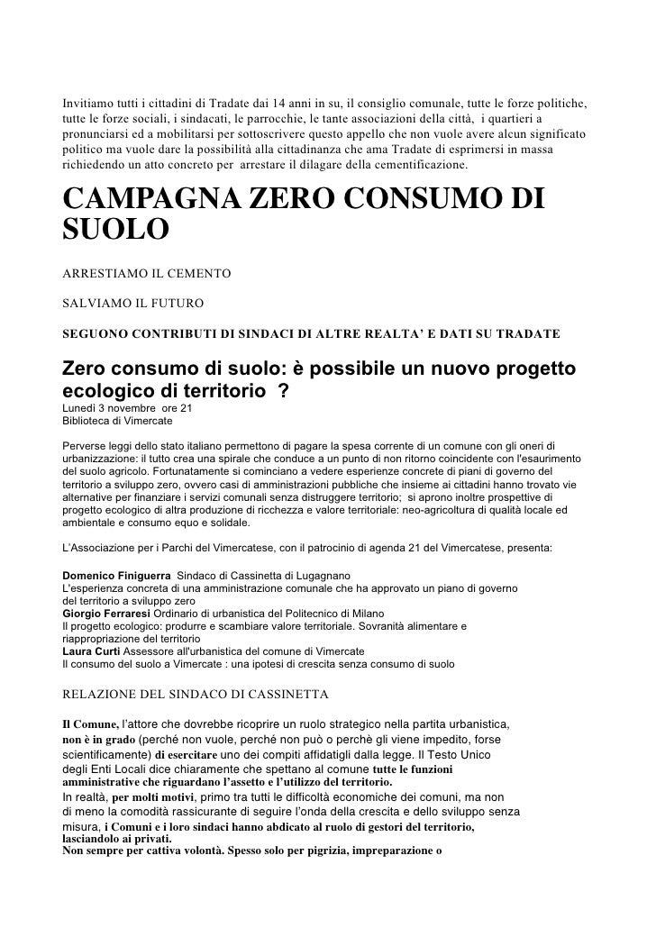 Zero Consumo di Suolo Info/Approfondimenti
