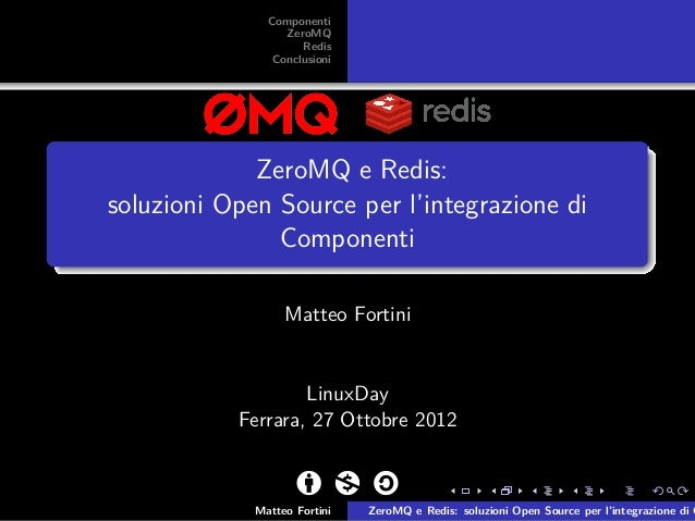 Componenti                  ZeroMQ                     Redis                Conclusioni             ZeroMQ e Redis:soluzio...