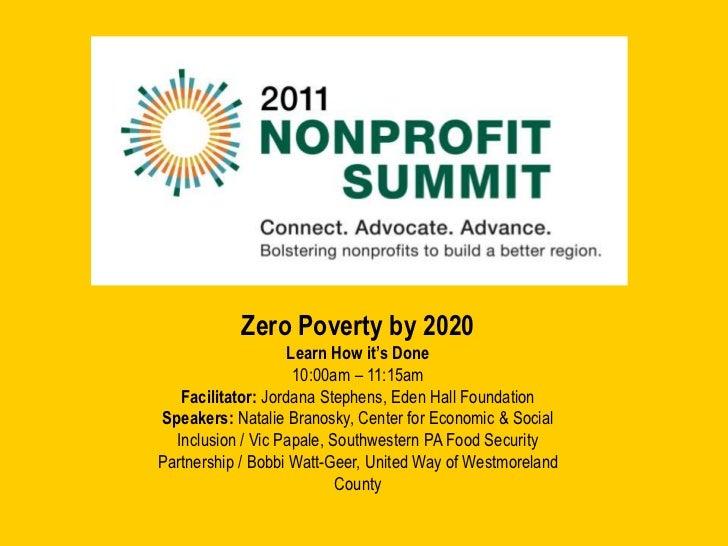 Pittsburgh Nonprofit Summit - Zero Poverty by 2020 Workshop