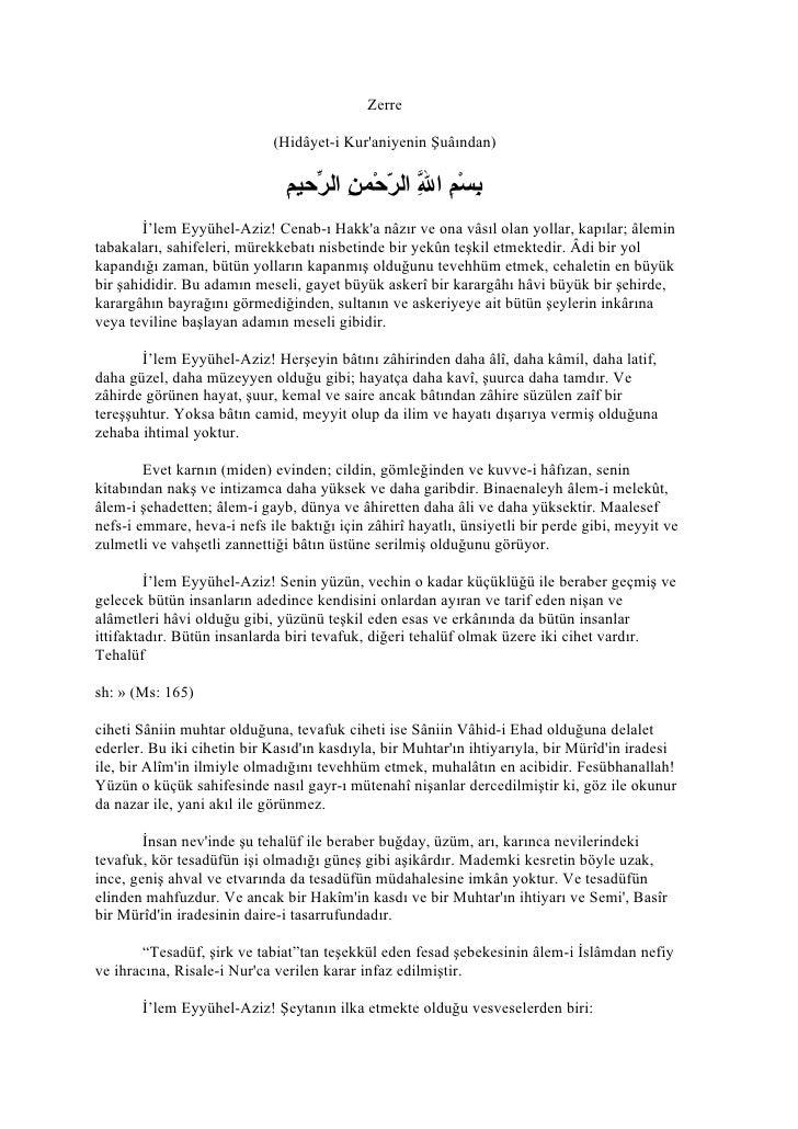 Zerre                               (Hidâyet-i Kur'aniyenin Şuâından)                                 ب م ّ ّ ن ر م     ...