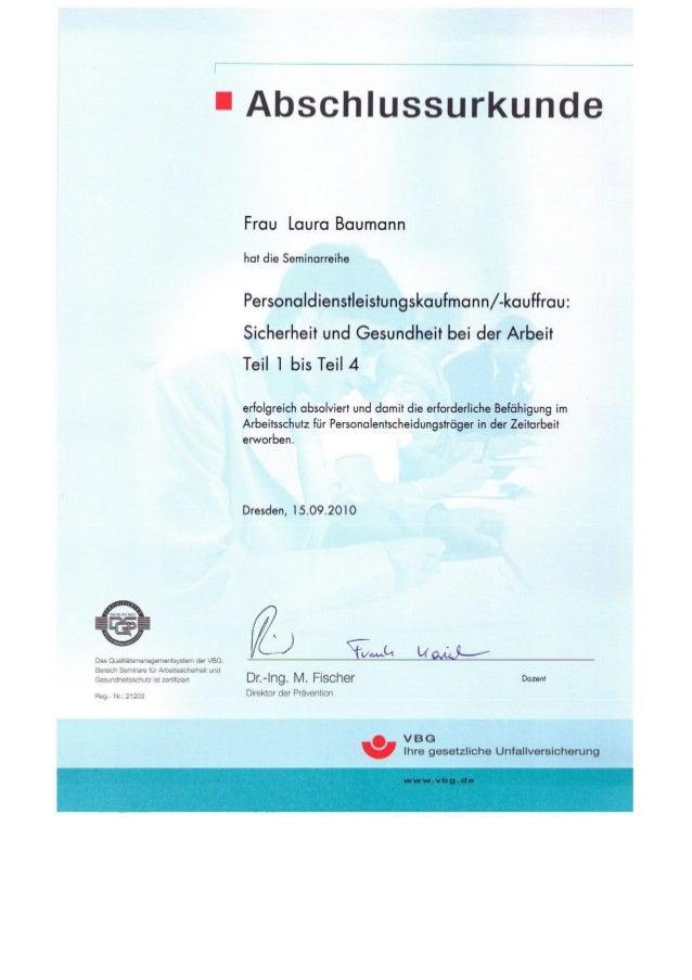 Zertifikate von Laura Baumann (Personaldienstleistungskauffrau)