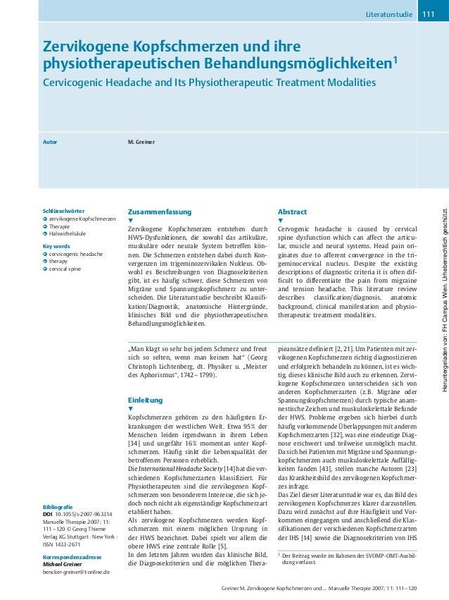 Zervikogene Kopfschmerzen und ihre physiotherapeutischen Behandlungsmçglichkeiten1 Cervicogenic Headache and Its Physiothe...