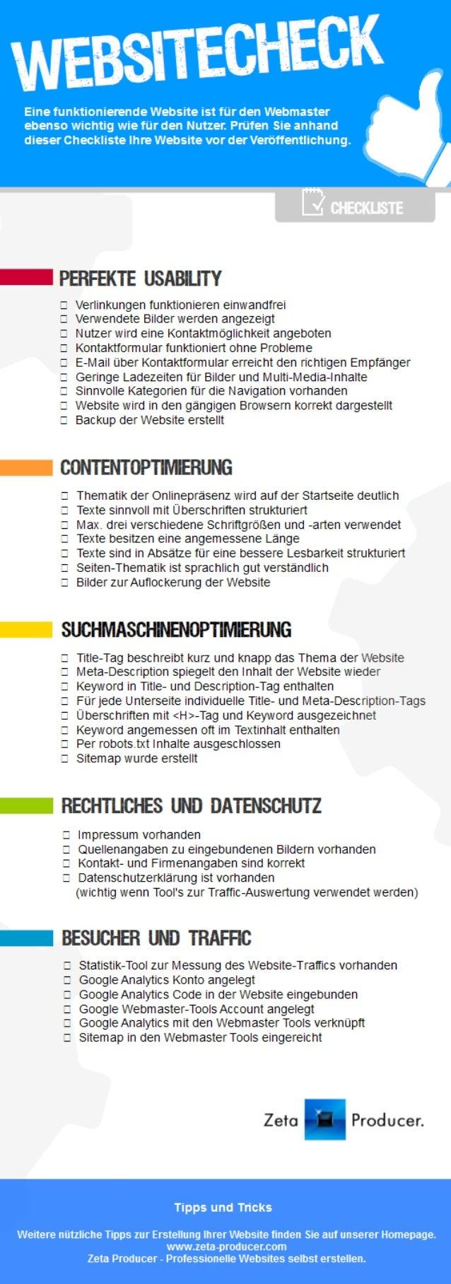 Zeta Producer Desktop CMS - Website Checkliste