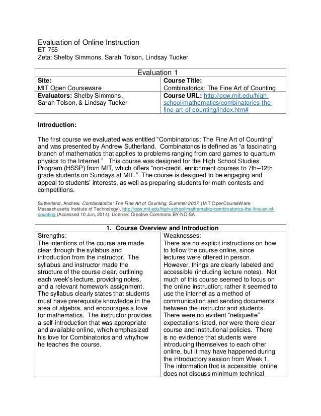 Evaluation of Online Instruction ET 755 Zeta: Shelby Simmons, Sarah Tolson, Lindsay Tucker Evaluation 1 Site: MIT Open Cou...