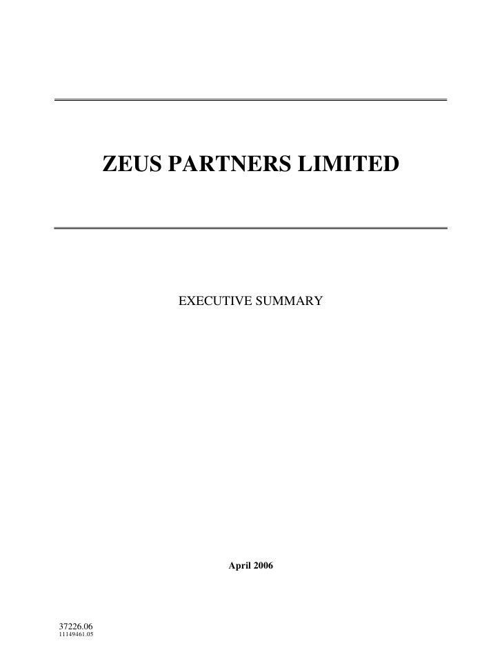 ZEUS PARTNERS LIMITED                        EXECUTIVE SUMMARY                             April 2006     37226.06 1114946...