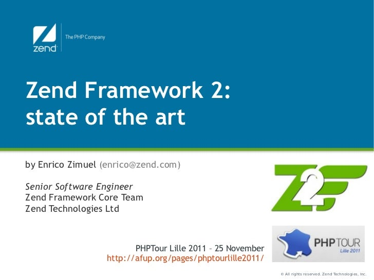 ZF2 Presentation @PHP Tour 2011 in Lille