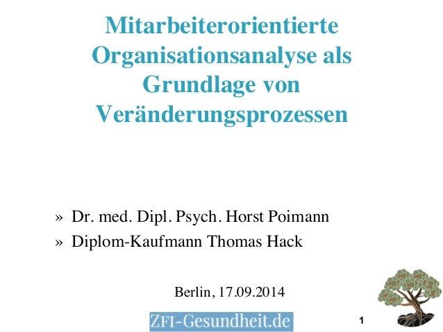 1  Mitarbeiterorientierte  Organisationsanalyse als  Grundlage von  Veränderungsprozessen  » Dr. med. Dipl. Psych. Horst P...