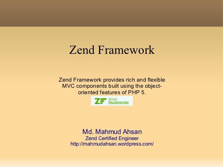 Application development using Zend Framework
