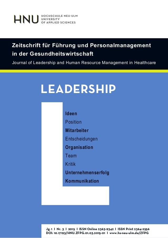 Zeitschrift für Führung und Personalmanagement in der Gesundheitswirtschaft Journal of Leadership and Human Resource Manag...