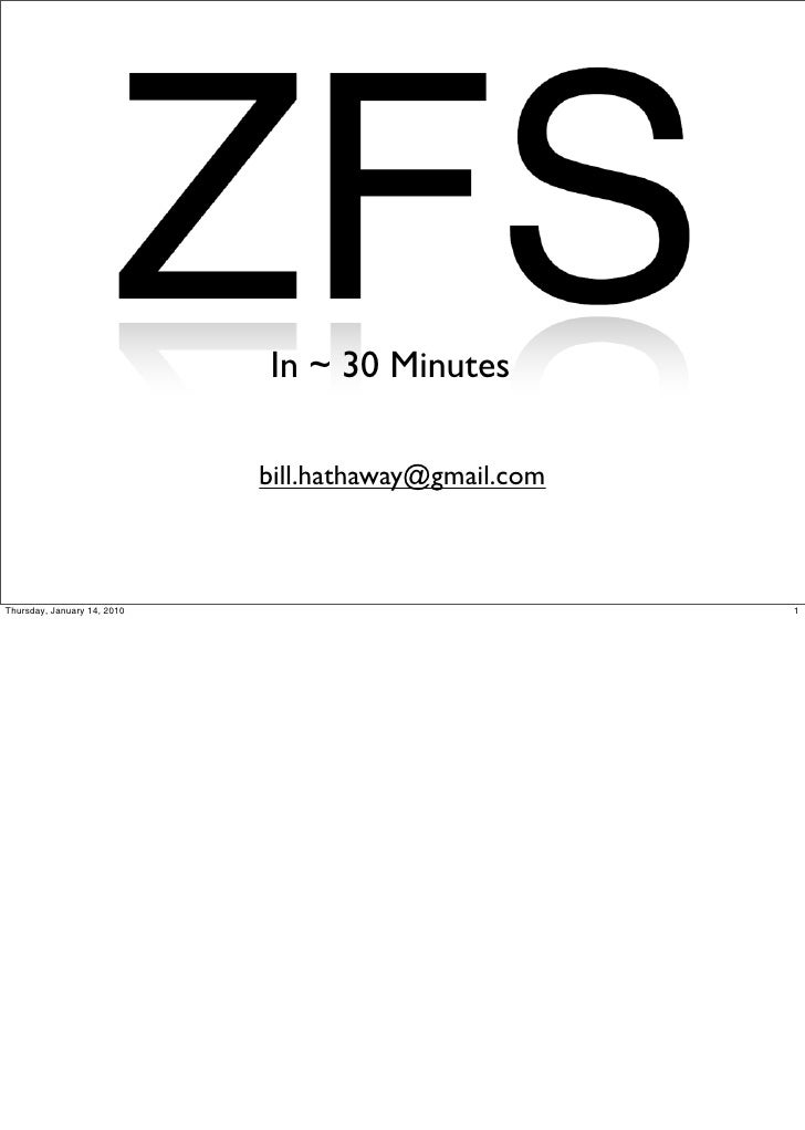 ZFS in 30 minutes