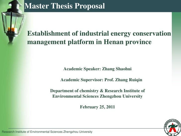 Master Thesis Proposal Establishment of industrial energy conservation ...