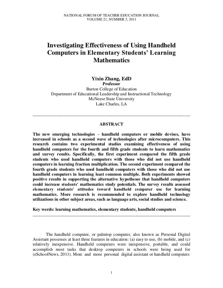 Zhang,yixin investigating effectiveness of using handheld computers nftej v21 n3 2011