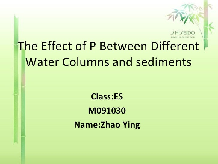 The Effect of P Between Different Water Columns and sediments Class:ES M091030 Name:Zhao Ying