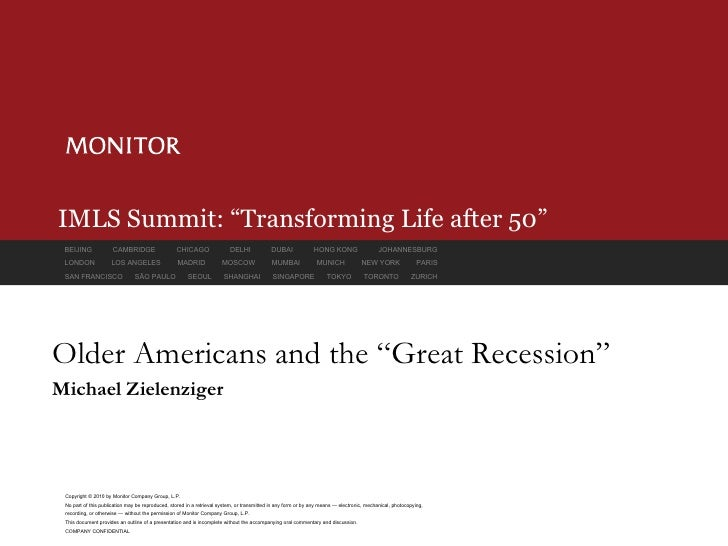 """IMLS Summit: """"Transforming Life after 50"""" Older Americans and the """"Great Recession"""" Michael Zielenziger"""