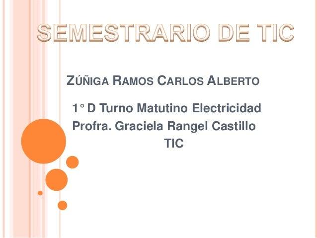 ZÚÑIGA RAMOS CARLOS ALBERTO 1° D Turno Matutino Electricidad Profra. Graciela Rangel Castillo TIC