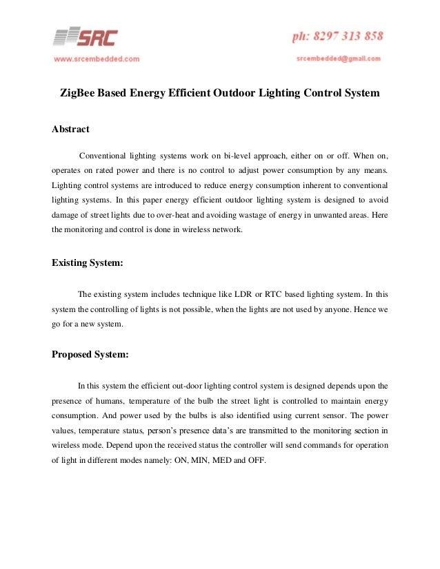 Zig bee based energy efficient outdoor lighting control system
