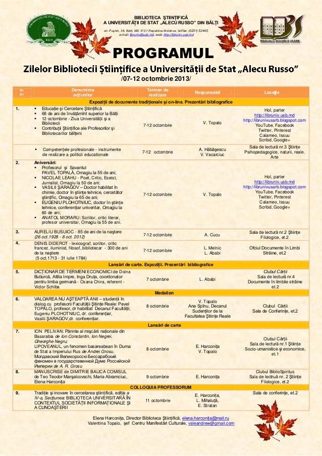 """BIBLIOTECA ŞTIINŢIFICĂ A UNIVERSITĂŢII DE STAT """"ALECU RUSSO"""" DIN BĂLŢI str. Puşkin, 38, Bălţi, MD 3121 Republica Moldova, ..."""