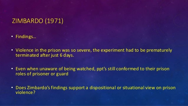zimbardo's prison study Research was conducted recently (august 14-21, 1971) in which subjects assumed the roles of 'prisoner' or 'guard' for an extended period of time within an experimentally devised mock prison setting on the stanford university campus the projected two- week study had to be prematurely terminated when it became.