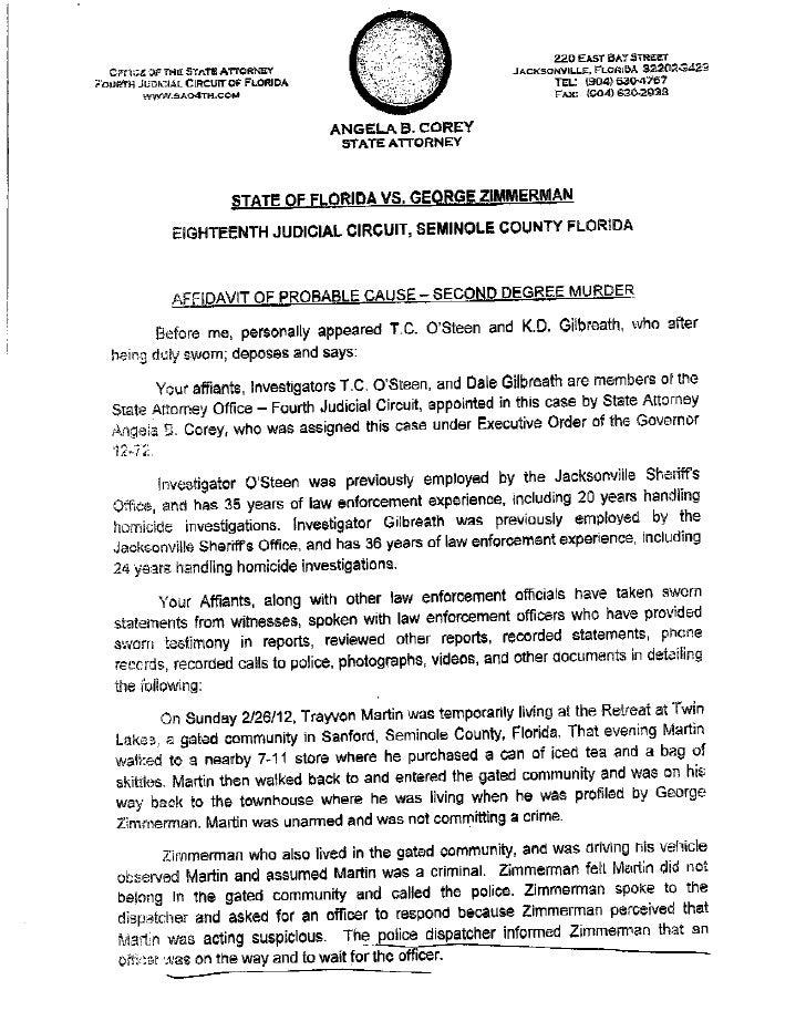 George Zimmerman 2ed degree murder affidavit