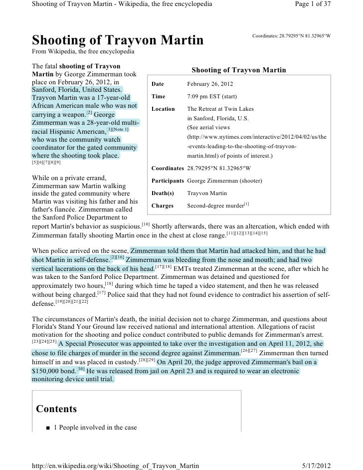 Shooting of Trayvon Martin - Wikipedia, the free encyclopedia                                         Page 1 of 37        ...