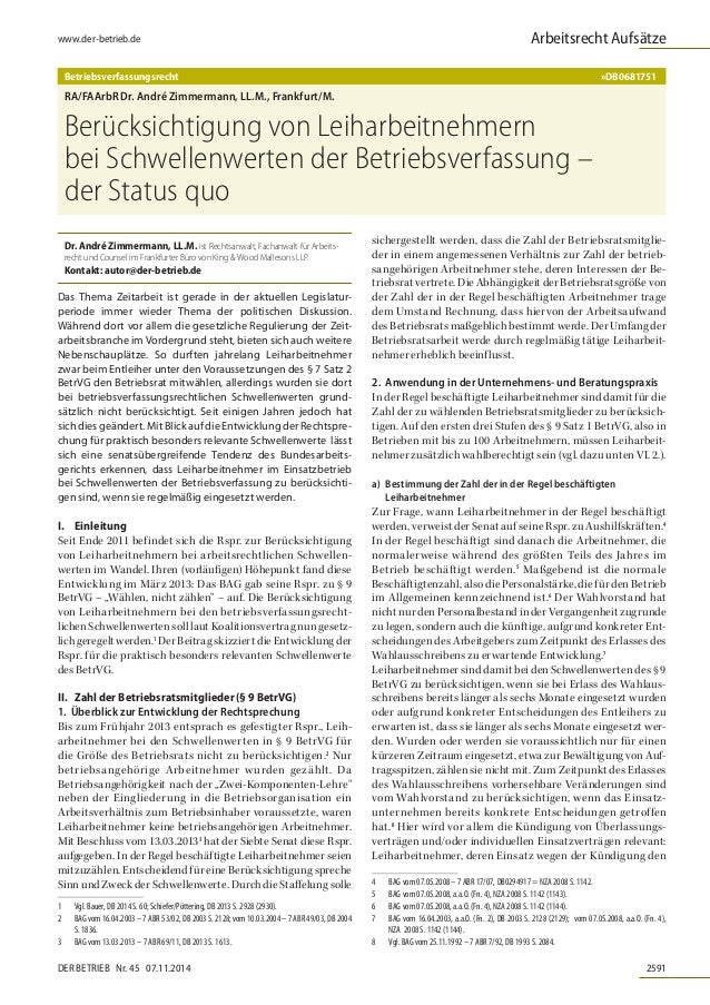 DER BETRIEB Nr. 45 07.11.2014 2591 Arbeitsrecht Aufsätzewww.der-betrieb.de Dr. André Zimmermann, LL.M. ist Rechtsanwalt, F...