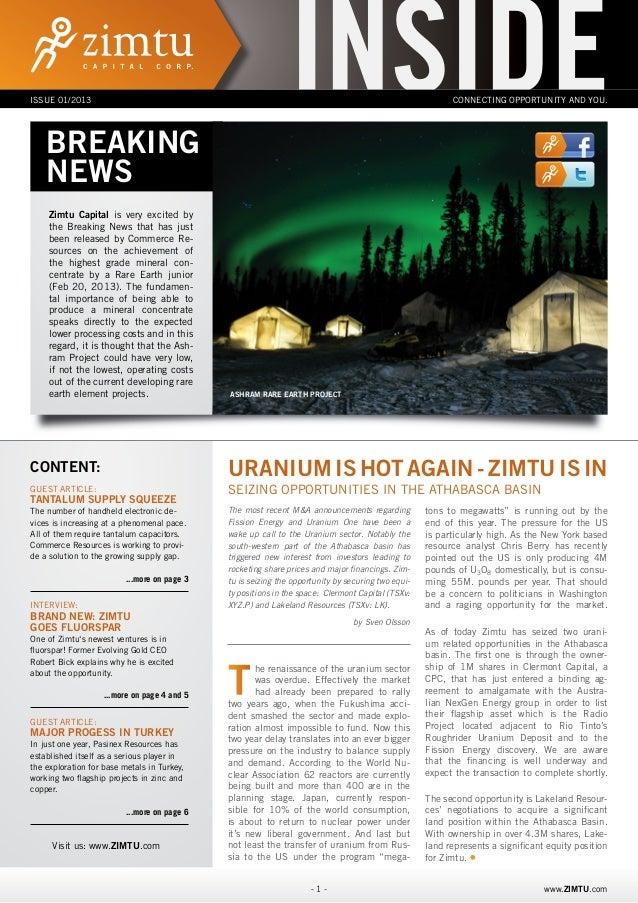 Zimtu INSIDE Newsletter [Issue 01/2013]