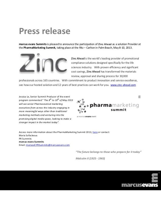 Press releasemarcus evans Summits is pleased to announce the participation of Zinc Ahead as a solution Provider atthe Phar...