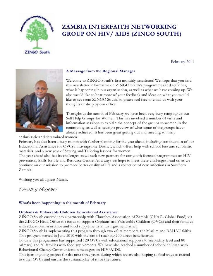 ZAMBIA INTERFAITH NETWORKING                          GROUP ON HIV/ AIDS (ZINGO SOUTH)                                    ...