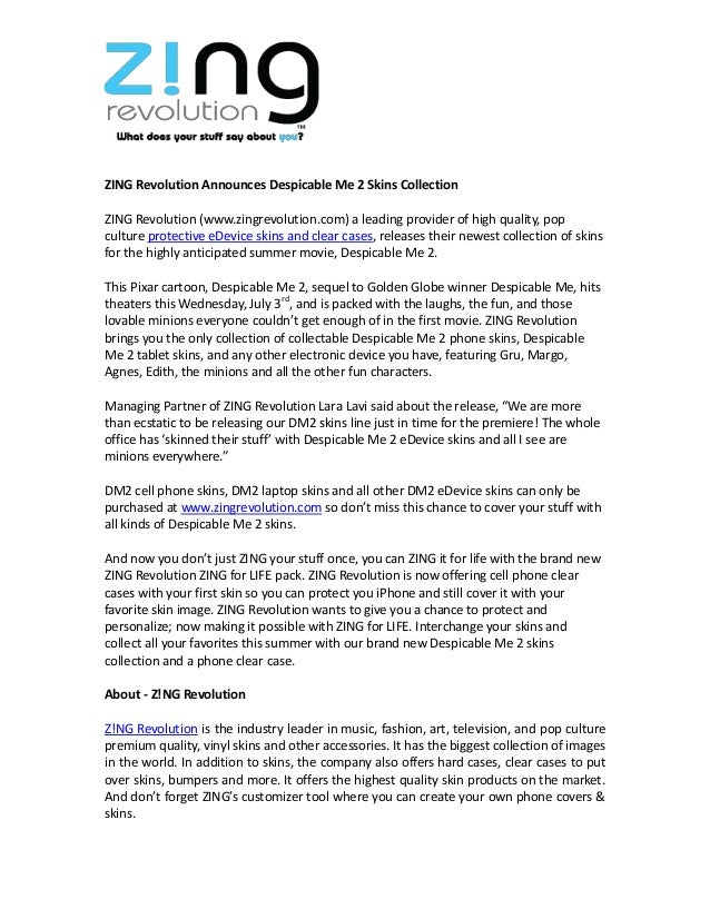 ZING Revolution Announces Despicable Me 2 Skins Collection