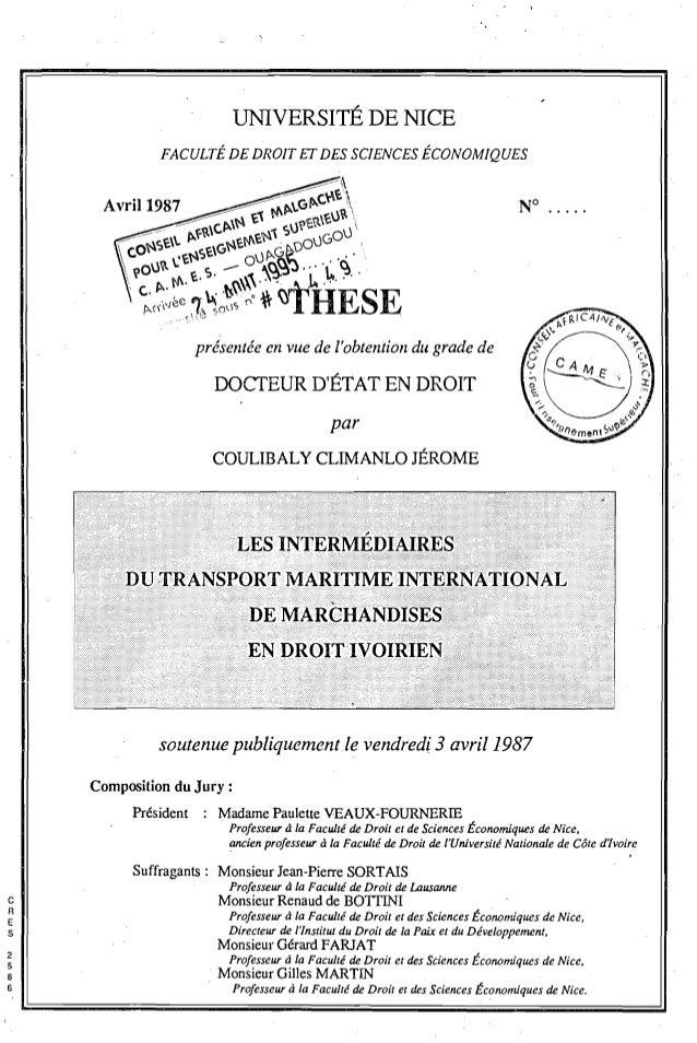 lTNIVERSlTÉ DE NICE présentée en vue de l'obtention du grade de DOCTEUR D'ÉTAT EN DROIT par COULIBALy CLIMANLO JÉROME N° ....