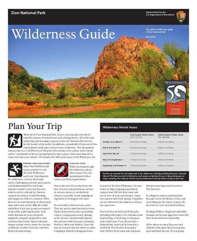 NostalgicOutdoors™- Zion National Park Guide - WILDERNESS GUIDE