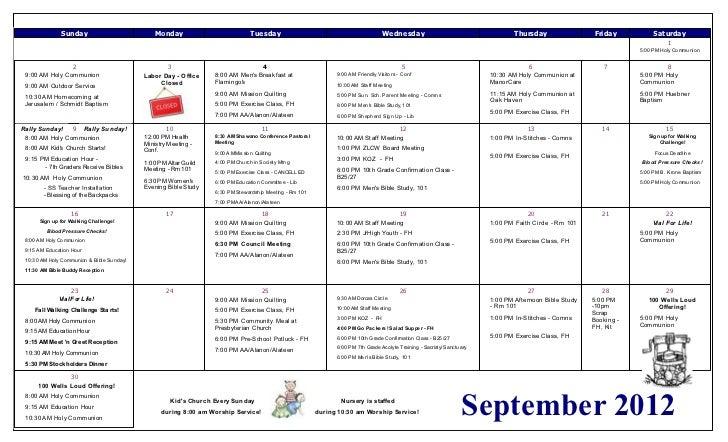 Zion calendar   september 2012