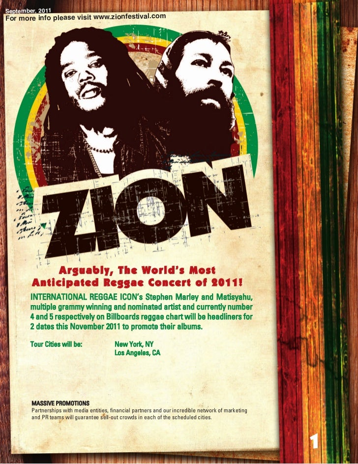 September, 2011For more info please visit www.zionfestival.com             Arguably, The World's Most        Anticipated R...
