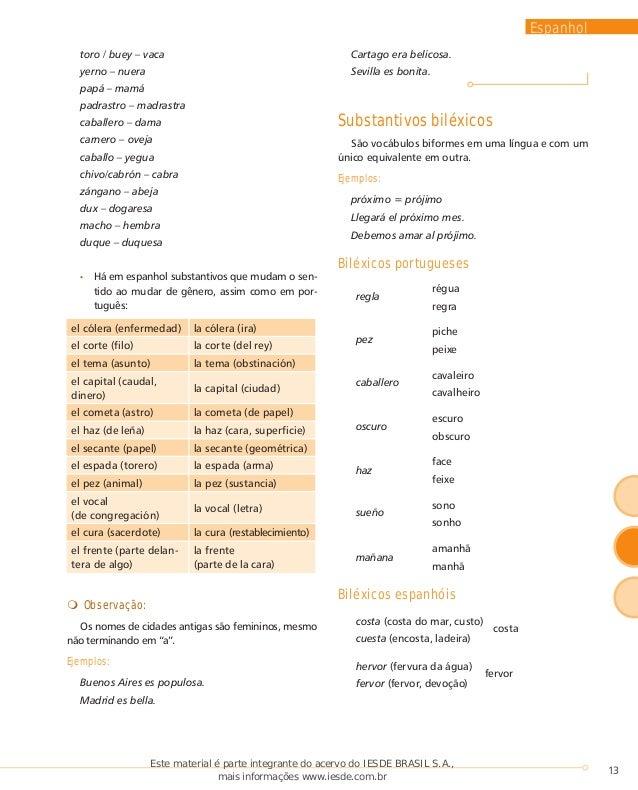 Exemplos de substantivos comuns de dois generos