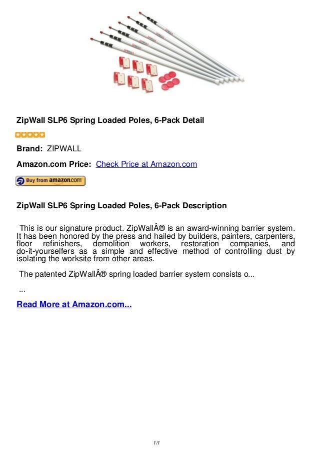 Zip wall slp6 spring loaded poles, 6 pack