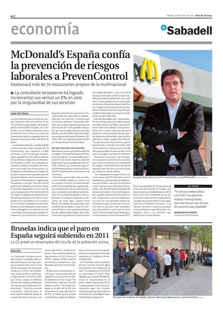 McDonald's España confía la prevención de riesgos laborales a PrevenControl