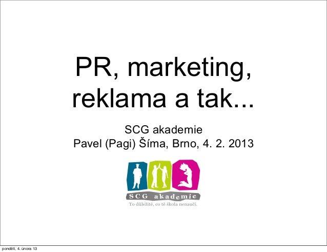 Základy PR a marketingu