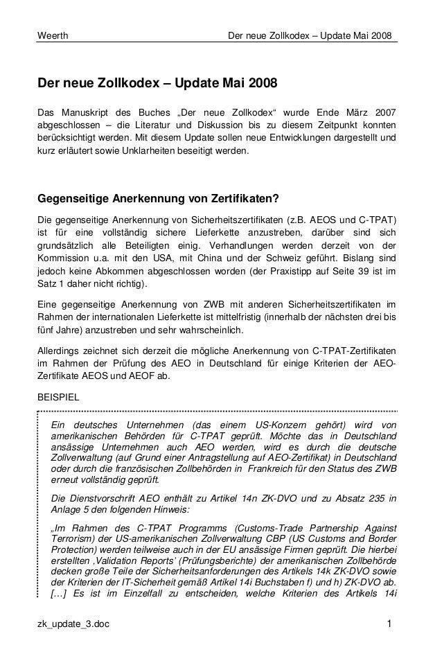 Weerth Der neue Zollkodex – Update Mai 2008 zk_update_3.doc 1 Der neue Zollkodex – Update Mai 2008 Das Manuskript des Buch...