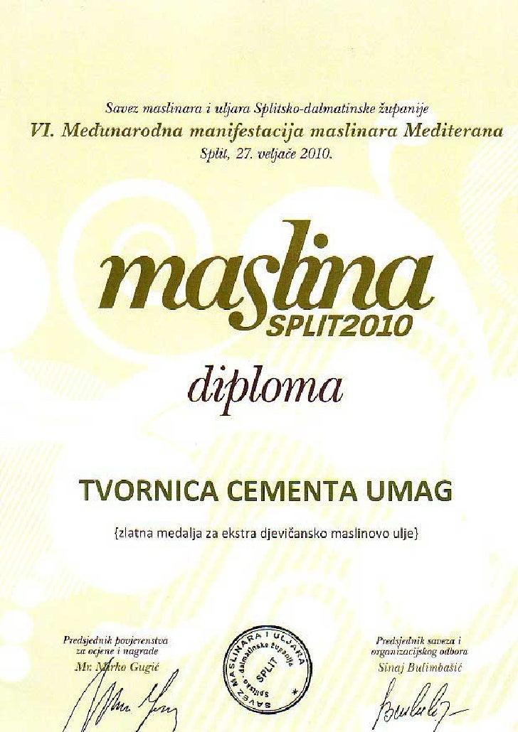 Zlatna medalja za maslinovo ulje