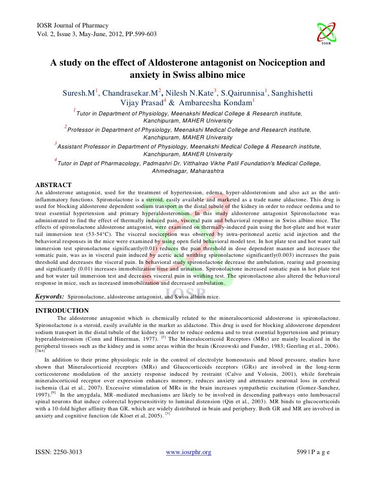 IOSR Journal of PharmacyVol. 2, Issue 3, May-June, 2012, PP.599-603        A study on the effect of Aldosterone antagonist...