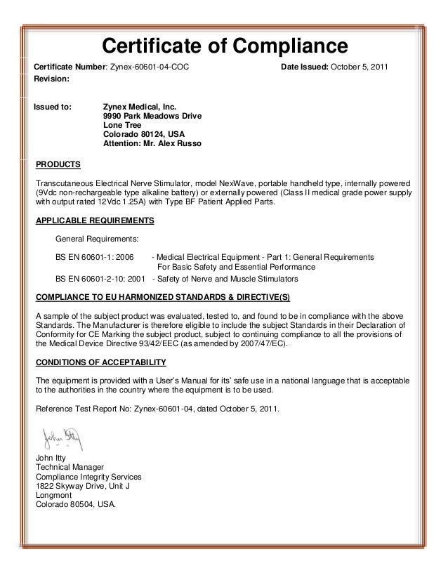 Certificate of compliance for Certificate of manufacture template