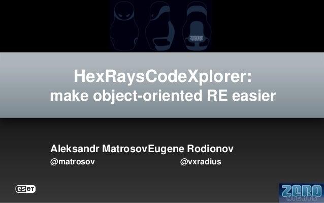 HexRaysCodeXplorer: make object-oriented RE easier