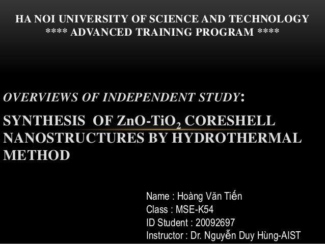 Zno  tio2 coreshell- independent study- HUST
